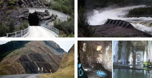 Figure 1 – Examples of geostructures: road and ramp; tunnel, hydroelectric dam, road embankment, rock chamber for storage.